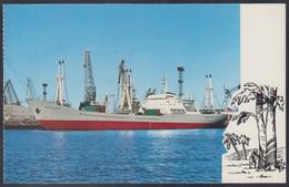 "RUSSIA POSTCARD Mint SHIP ""Kingisepp"" BALTIC SHIPPING Leningrad CARGO BATEAU TRANSPORT Port Harbour BSCo USSR K2 - Commercio"