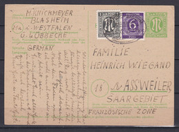 Bizone - 1946 - Postkarte - Mischfrankatur - Nach Saargebiet Mit Bahnstempel - American/British Zone
