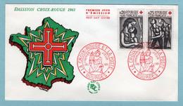 FDC France 1961 - Croix Rouge 1961 - YT 1323 Et 1324 - Bourges - 1960-1969