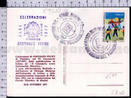 C9389 Italia FDC 1977 XIX GIORNATA DEL FRANCOBOLLO RIMINI CELEBRAZIONI COSTANZO FELICI PIOBBICO - F.D.C.