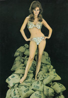 Raquel Welch Wears Coin Bikini Swimsuit Stands On Bags Of Money, C1960s/70s Vintage Postcard - Pin-Ups