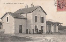 CARTE POSTALE   LIGNIERES 18   La Gare - Sonstige Gemeinden