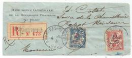 MAROC 10C MOUCHON CROIX ROUGE +25C  FRAGMENT DE LETTRE REC RABAT RESIDENCE 1.11.1915 - Storia Postale