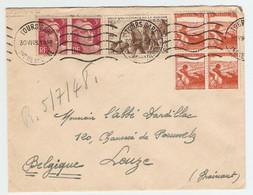 LETTRE TOURS GARE 30 JUIN 1948 POUR ABBÉ LEUZE BELGIQUE - MARIANNE GANDON 806 + TUBERCULOSE 736 + 737 - 2 Scans - - 1921-1960: Modern Tijdperk