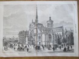 Gravure 1868  Embellissements De  PARIS   BOULEVARD DE STRASBOURG    Eglise Saint-Laurent   Nouvelle Facade - District 10