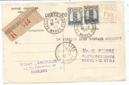 MAROC 4FR+30C MIXTE EMA 1FR20 B005 CARTE RECOMMANDEE CASABLANCA BOURSE 30.6.1945 - Storia Postale