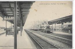 93,Seine Saint-Denis,La Gare, Vue Sur Les Quais ,Train Entrant En Gare, Scan Recto-Verso - Gagny