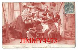 CPA - HUMOUR En 1904 - Bravo ! Bravo ! Garçon Encore Du Champagne ! !  - PHOTO - TAILLE-DOUCE - Scans Recto-Verso - Humor