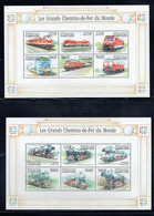 Gabon 2000 Railways Set Of 16 In Two Sheetlets + 4 Stamps Unmounted Mint - Gabón (1960-...)