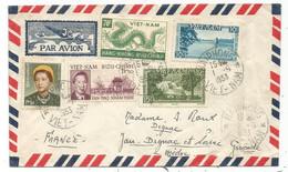 VIETNAM DRAGON + DIVERS LETTRE AVION HAIPHONG 1953 COVER TO FRANCE - Vietnam
