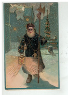 PERE NOEL #16451 GARDIEN VEILLEUR LANTERNE CARTE GAUFREE DORURE - Santa Claus