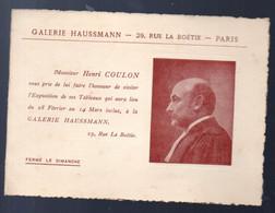 (Creuse, Indre ) Exposition Des Oeuvres De HENRI COULON  Galerie Haussmann Paris (M0805) - Programmi