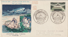 FDC FRANCE N° Yvert 1196 (JOURNEE DU TIMBRE - Aéropostale De Nuit) Obl Sp Ill 1er Jour - 1950-1959