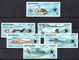NICARAGUA. N°1508 + PA1234-8 Oblitérés De 1988. Hélicoptères/Finlandia'88. - Helikopters