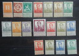 BELGIE 1912    Nr. 108 - 125      Scharnier *   CW  179,00 - 1912 Pellens