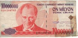 TURKEY   10.000.000 Türk Lirası   P214  L.1970/1999   President Mustafa Kemal Atatürk On Front - Turkije