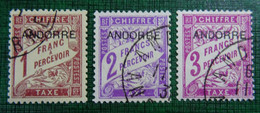 &SVE 34G& ANDORRA ANDORRE YVERT TAXE 6,7,8, MICHEL PORTOMARKEN 6, 7, 8 VF USED. - Used Stamps