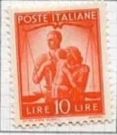 Italie - Italy - Italien 1945-48 Y&T N°497 - Michel N°698 * - 10l Famille Et Justice - Mint/hinged