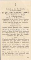 Ir. Julien Jospeh Dony X Maria Johanna Van Lanschot, Rummen 1865 - Den Bosch 1949 Consul Generaal Van België Leopoldsord - Imágenes Religiosas
