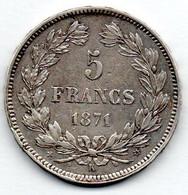 5 Francs 1871 K /Sans Légende / TTB - J. 5 Francs
