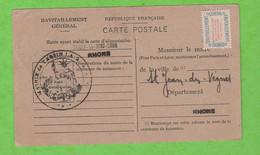 N° 15A ETIQUETTE RAVITAILLEMENT GENERAL SUR QUESTIONNAIRE DE TASSIN LA DEMI-LUNE RHÔNE - Lettres & Documents