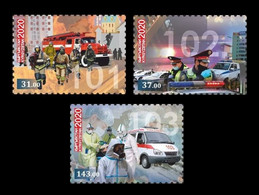 Kyrgyzstan 2020 Mih. 1007/09 Fight Against COVID-19 Coronavirus. Firefighters. Police. Ambulance MNH ** - Kirgisistan