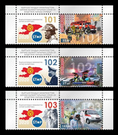 Kyrgyzstan 2020 Mih. 1007/09 Fight Against COVID-19 Coronavirus. Firefighters. Police. Ambulance (with Labels) MNH ** - Kirghizistan