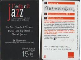 MBC 225A Pu223A L'ESPRIT JAZZ St GERMAIN CONCERT TELECARTE MAI 2002  15€ - Frankreich