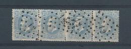 N°31b Bleu De Prusse Clair BANDE DE 4 OBLITERES LP 12 ANVERS - 1869-1883 Leopoldo II