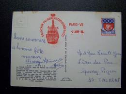 France - Oblitération De Fortune - Annulation Linéaire De Talmont  (85) - Sur Blazon De PARIS - La Tour Eiffel Sur CPSM - Manual Postmarks