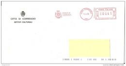 ITALIA - 2002 Comuni D'Italia: CORREGGIO (RE) - Stemma: SOLE CIRCONDATO DA UNA CINTURA - Ema Affranc. Mecc. Red Meter - Marcophilie - EMA (Empreintes Machines)
