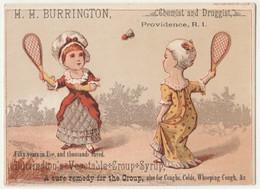 Vintage 1800's Victorian American Trade Card H.H. Burrington Providence  Sports Badminton Chromo Américaine - Otros