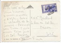 GRIFFE LINEAIRE SUR TIMBRE NON OBLITERE AU DEPART CP MACON SAONE ET LOIRE SUR TIMBRE ITALIE - 1921-1960: Periodo Moderno