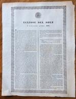 ASTRONOMIA - ECLISSE DEL SOLE  8 LUGLIO ANNO 1842 - STAMPATO CON SPLENDIDA CORNICE  - DA INCORNICIARE - Historical Documents