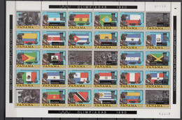 Panama 1980 Olympic Games Moscow / Lake Placid Sheetlet With Black/silver Overprint MNH -scarce- - Estate 1980: Mosca