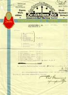 """Schwerin Mecklenburg 1930 Deko Rechnung """" Zentra Uhrmachermeister Karl Warning Juwelier Bestecke """" - Other"""