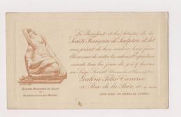 CARTON D'INVITATION SOCIETE FRANCAISE DE SCULPTURE D'ART - EXPOSITION  GALERIE FELIX CAVAROC - PARIS 10° - SALON 1902 - Anuncios