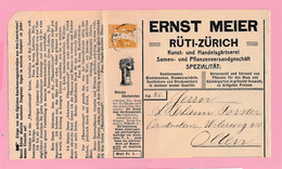 S.31 Entier Postal Repiqué Illustré:Jardinage Fruits Légumes Ernst Meier Rüti-Zürich 18.II.11 (coupé En Bas=1mm) - Ganzsachen