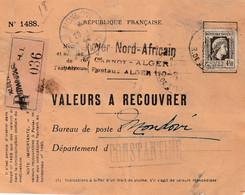Valeurs à Recouvrer :  Alger Pour Mondovi Constantine - Cartas