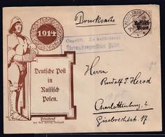 Besetzung 1 Weltkrieg, Polen Privat Ganzsache Mi-Nr. PU1/D1 Gelaufen - Occupation 1914-18