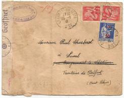 PAIX LETTRE CHAUMONT OISE 1941 POUR TERRITOIRE BELFORT CENSURE NAZI - 1939-45