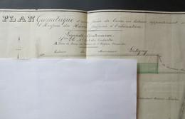 76 - Cauville Sur Mer - Plan Géométrique - Hôspice Du Havre Proposée à L'Aliénation  - 1871 - RARE - B.E - - Planches & Plans Techniques