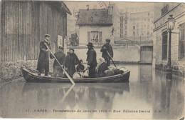 75-PARIS-17-INONDATIONS DE JANVIER 1910-RUE FELICIEN DAVID-7/02/1910- - De Overstroming Van 1910