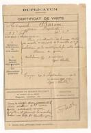 CERTIFICAT DE VISITE MEDICALE 1918/ 98 Eme REGIMENT INFANTERIE / PLAIE CUISSE DROITE PAR RONDELLE DE 105 ( 650GR)  C1218 - Documentos