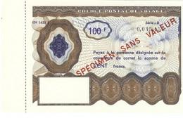 Chèque Postal De Voyage Specimen Sans Valeur 100 F Bleu - Corsi Di Istruzione