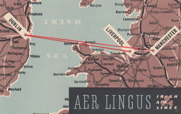 Aer Lingus, Ireland Airlines, Route Map Dublin To Liverpool And Manchester, C1950s/60s Vintage Postcard - Other