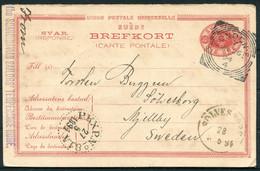 1894 Svar Brefkort, Scandinavian Sailors' Temperance Home, London England Squared Circle - Solvesborg PKXP 81A Railway - Brieven En Documenten
