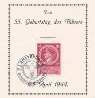 Deutsches Reich - 1944 - 55th Geburtstag Führer With Special Cancel Amsterdam On Leaflet - Deutsche Dienstpost - Briefe U. Dokumente