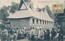 """Nederlands Indië - 1918 - 1+5 Cent Rode Kruis Op Beeldzijde Ansicht """"Maleische Woning, Fort De Kock"""" - Niederländisch-Indien"""