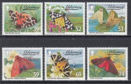 2012 Alderney Tiger Moths Insects  Complete Set Of 6 MNH @ BELOW FACE VALUE - Alderney